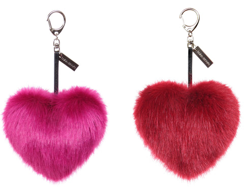Helen Moore Faux Fur Heart Keyring / Handbag Charm in Magenta or Crimson