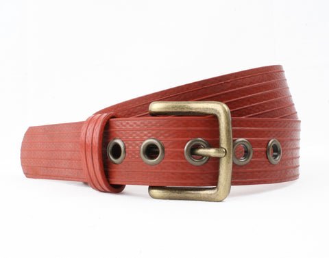 ELVIS & KRESSE London Fire Brigade Red Fire Hose Unisex West End Belt | 6 x Sizes