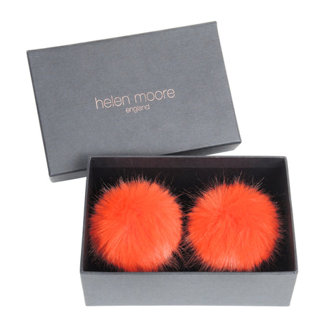 HELEN MOORE Pom Pom Faux Fur Shoe / Boot Clips: Blaze Orange