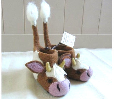SEW HEART FELT Buttercup the Cow Children's Handmade Felt Animal Slippers