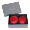 HELEN MOORE Pom Pom Faux Fur Shoe / Boot Clips: Crimson Red