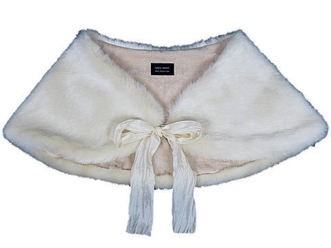 HELEN MOORE Faux Fur Luxury Shoulder Wrap in Ermine Cream