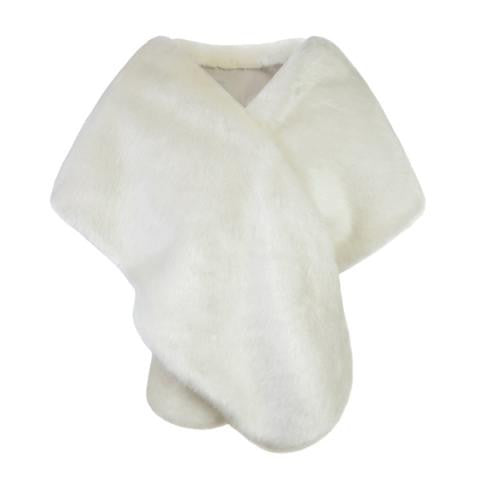 Helen Moore Faux Fur Bridal Evening Stole: Ermine Cream