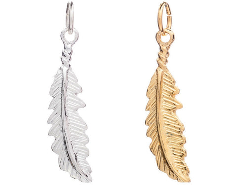 CINDERELA B Feather Charm: in choice of 22ct Gold Plate or Silver Plate