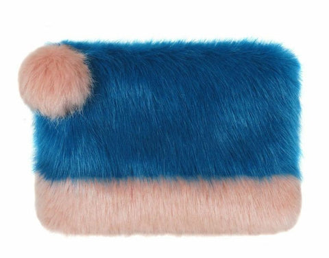 HELEN MOORE Faux Fur 2 Tone Pom Pom Clutch Bag: Kingfisher Blue & Dusty Pink