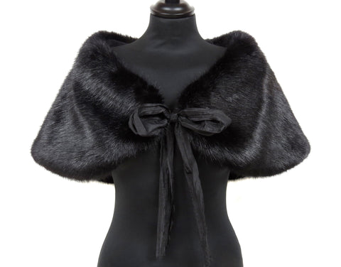 Helen Moore Faux Fur Evening Shoulder Wrap: Jet Black