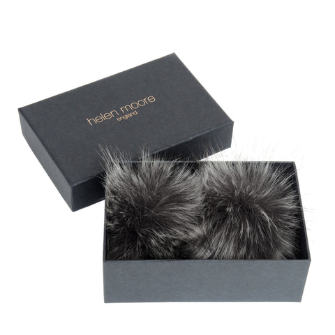 HELEN MOORE Pom Pom Faux Fur Shoe / Boot Clips Lady Grey