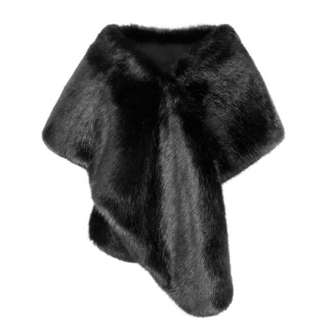 Helen Moore Faux Fur Bridal Evening Stole: Jet Black