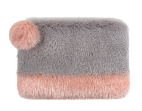 HELEN MOORE Faux Fur 2 Tone Pom Pom Clutch Bag: Dusty Pink & Opal Grey