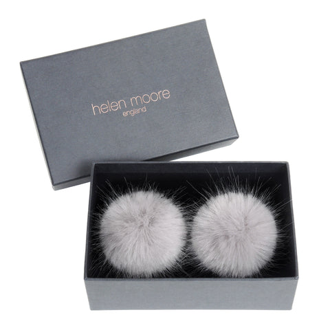 HELEN MOORE Pom Pom Faux Fur Shoe / Boot Clips Opal Grey