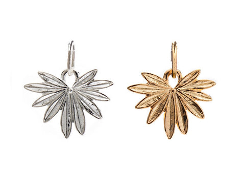 CINDERELA B Palm Leaf Charm: in choice of 22ct Gold Plate or Silver Plate