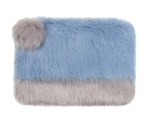 HELEN MOORE Faux Fur 2 Tone Pom Pom Clutch Bag: Powder Blue & Opal Grey