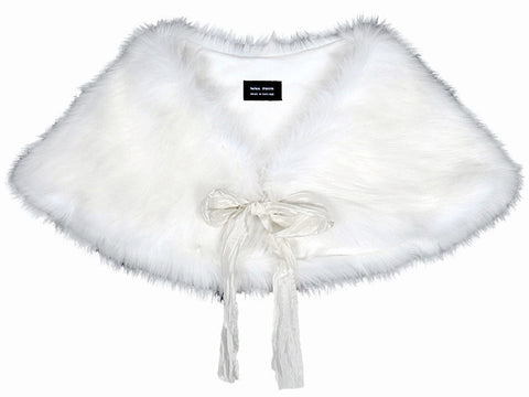 HELEN MOORE Faux Fur Luxury Shoulder Wrap in Snow White