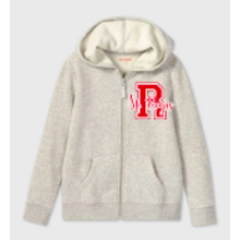 Youth Girls Grey Zip Up Hoodie