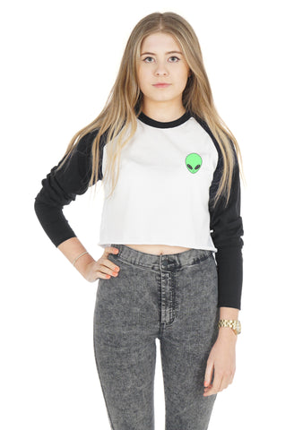 Alien Head Crop Raglan Shirt