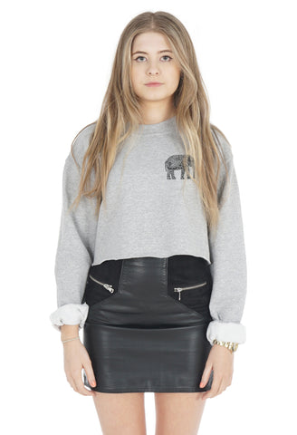 Boho Elephant Crop Sweater