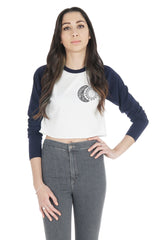Boho Moon and Sun Crop Raglan Shirt