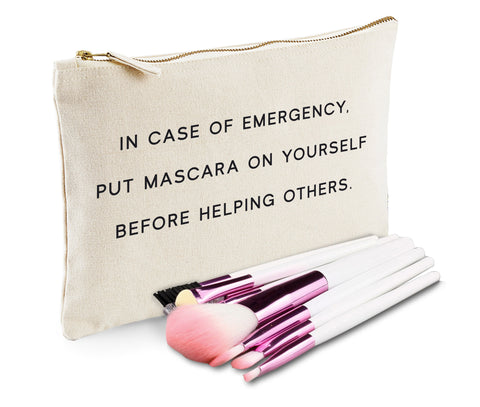 In Case Of Emergency Put Mascara On Yourself Before Helping Others Makeup Bag