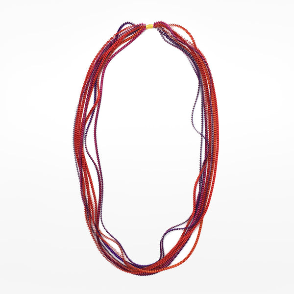 Alexandra Tsoukala pleated necklace - purple and orange