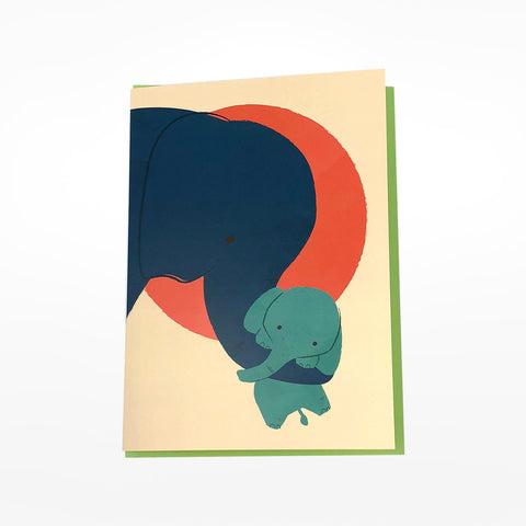 Mother & Baby Elephant Greetings Card