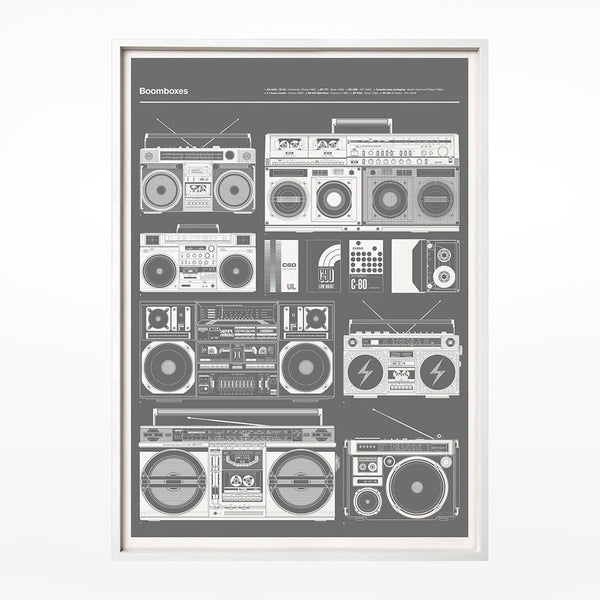 Boomboxes Grey Print