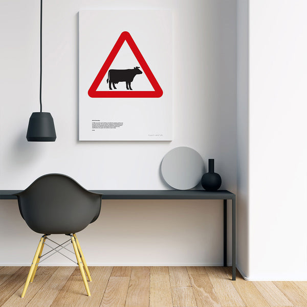 Cattle Road Sign Print