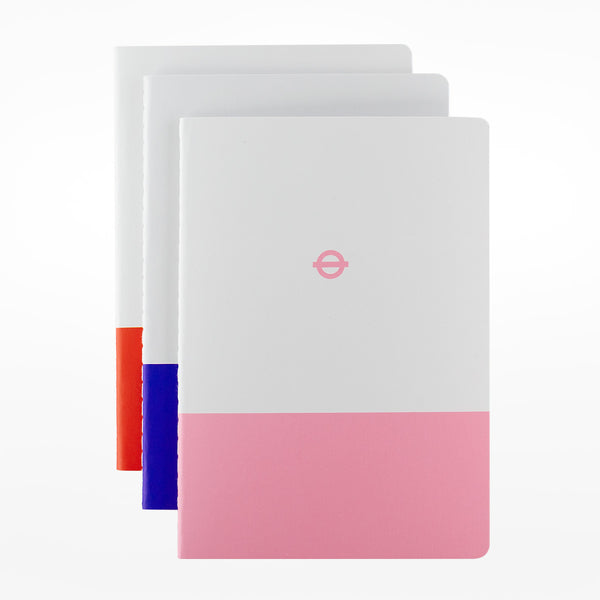 3 x A6 Tube Line Notebooks - Central / Picadilly / Hammersmith & City