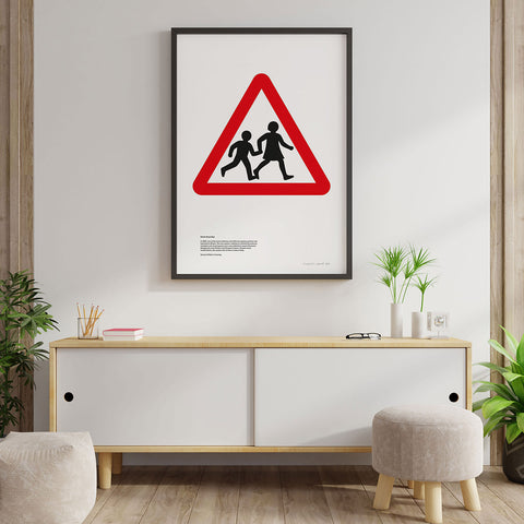 Children Crossing Road Sign Print