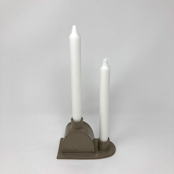 Double Candle Holder - grey