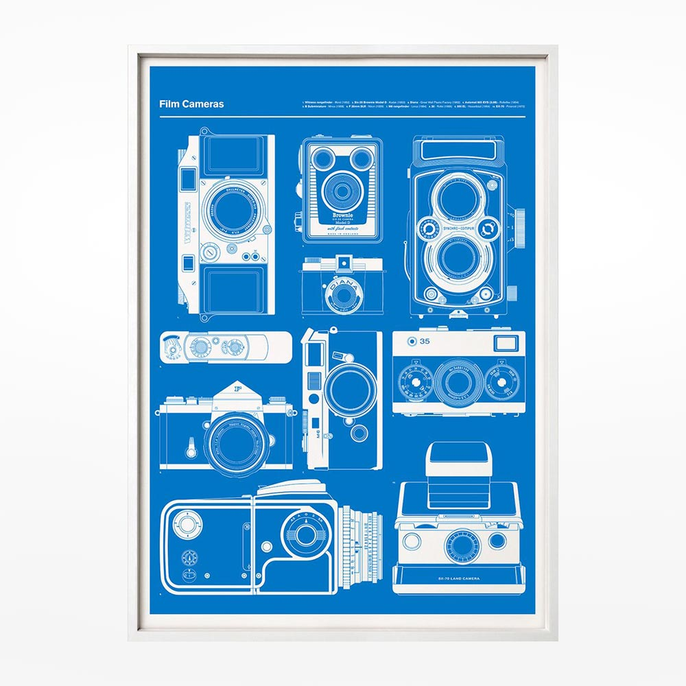 Cameras print blue design museum shop cameras print blue malvernweather Images