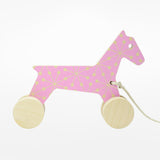 Odile the Pull-Along Horse - pink