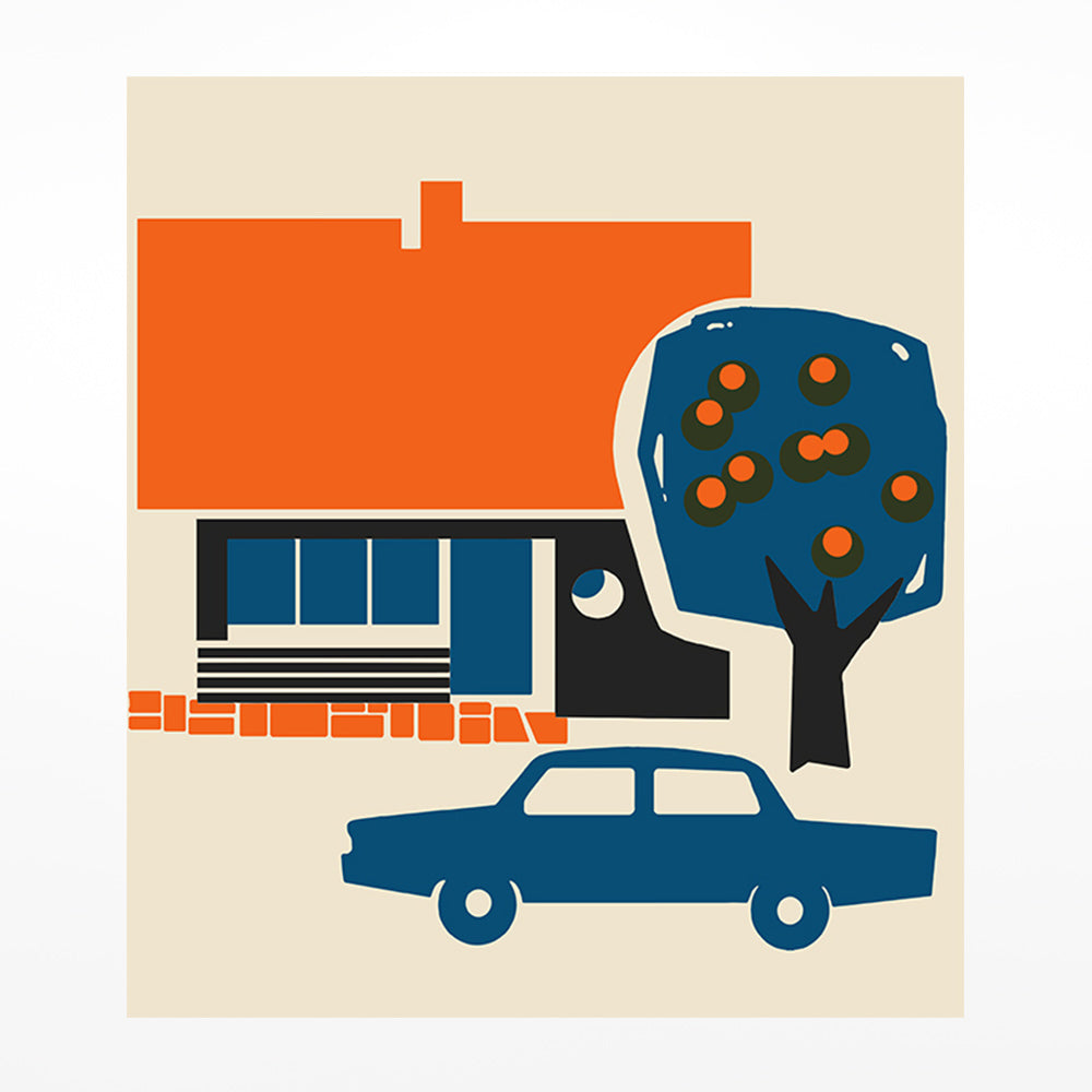 House with Tree and Car Print - A2