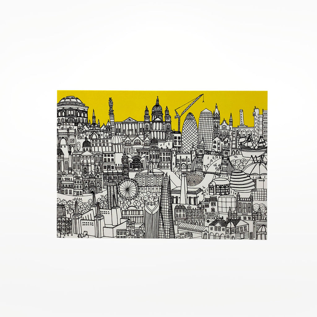 London Skyline Yellow Greetings Card