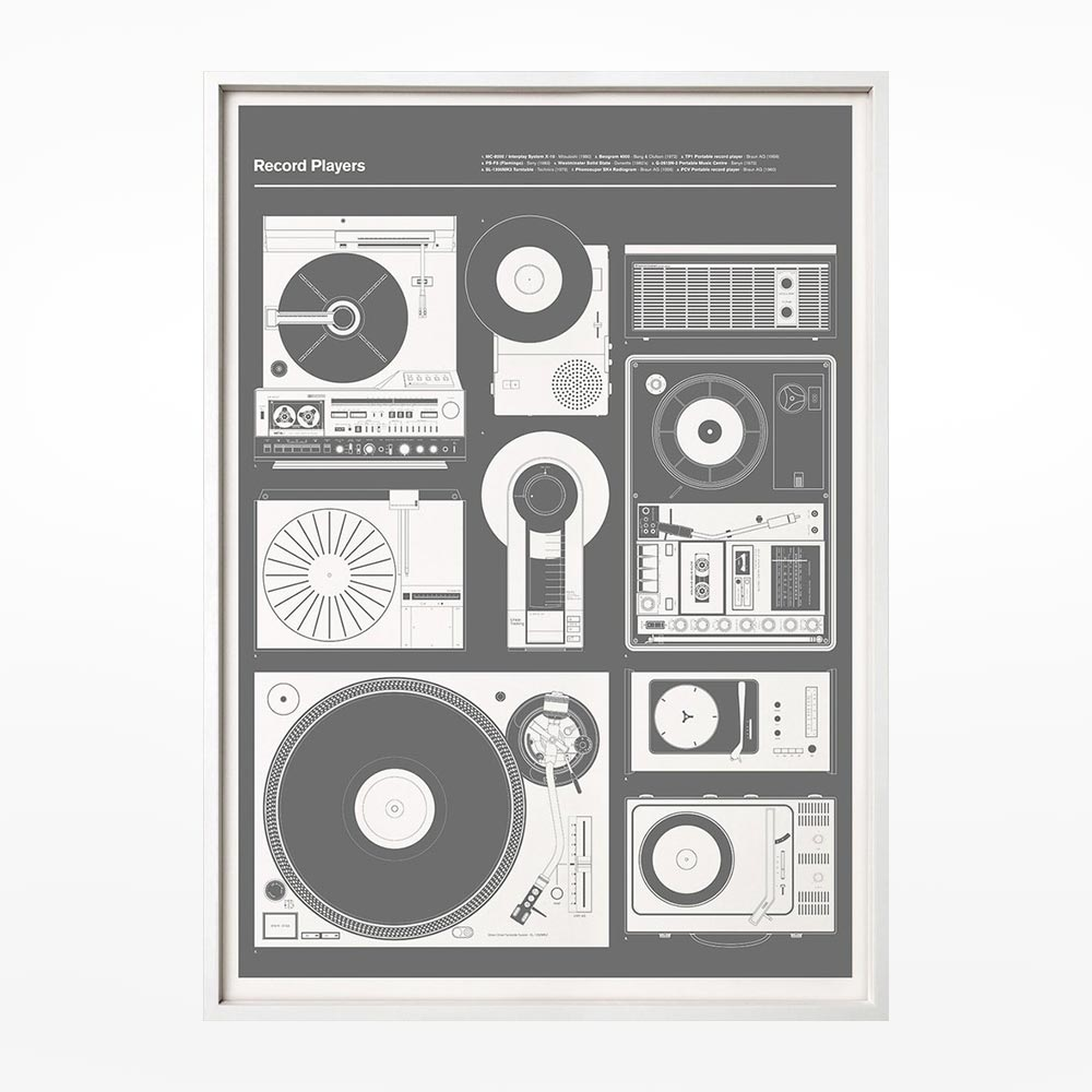 Record Players print - grey