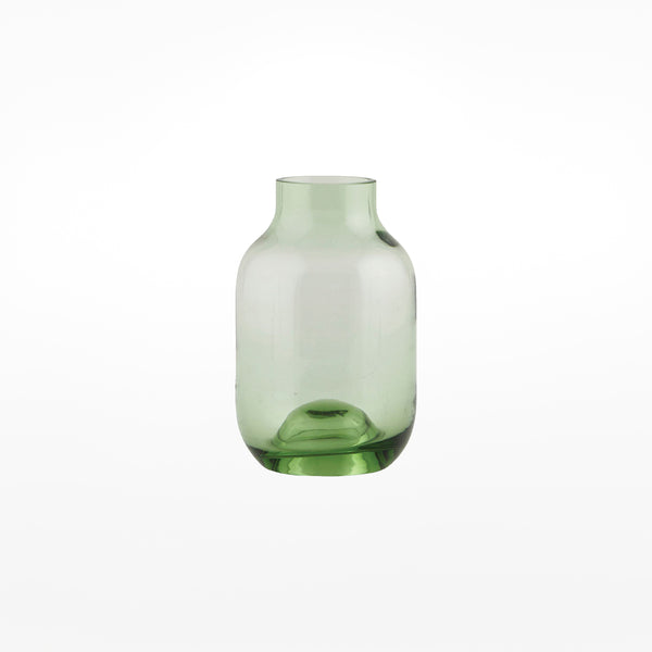 Shaped Glass Vase - small green