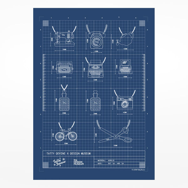 Tatty Devine x Design Museum Blue Print Poster - A2