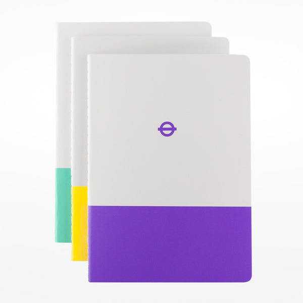 3 x A6 Tube Line Notebooks - Waterloo & City / Circle / Elizabeth