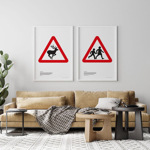 Wild Animals Road Sign Print