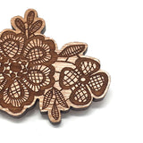 Cherry Wood Lace Brooch