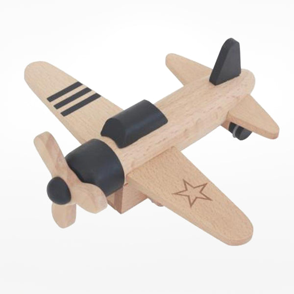 Wooden Propeller Plane black