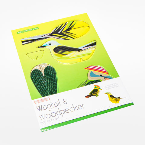 Woodpecker and Wagtail Pop Out Card