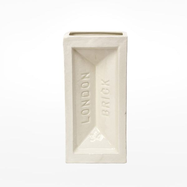 Glazed London Brick vase - white