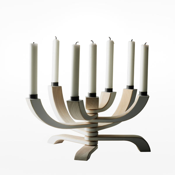 Nordic light candle holder - 7 arm white