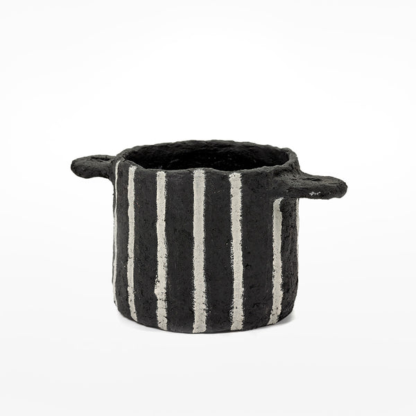 Papier Mache Vertical Stripes Pot Marie - black