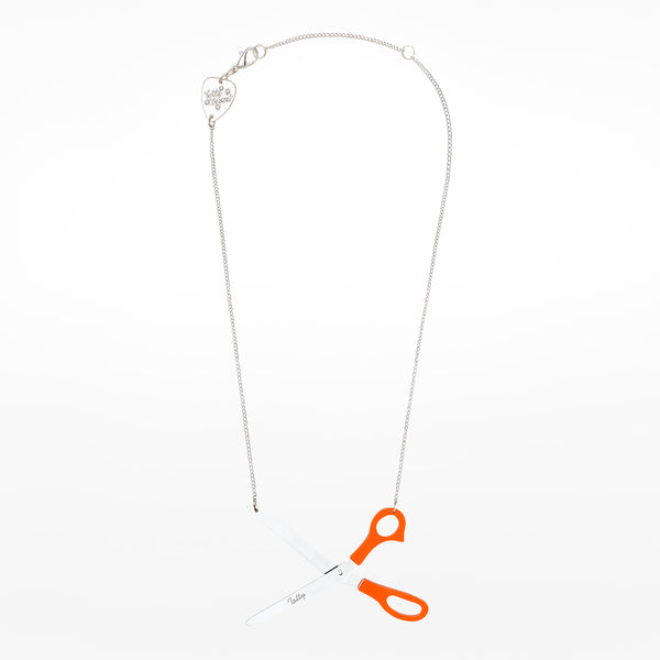 Orange Scissors Necklace