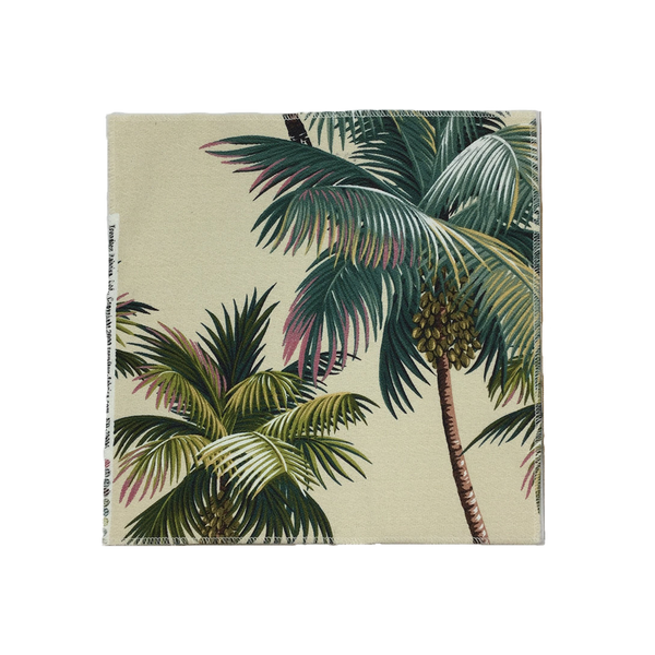 Natural Palm Trees Hawaiian Barkcloth Upholstery Fabric