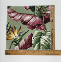 Sage Gold Bird of Paradise Hawaiian Barkcloth Upholstery Fabric