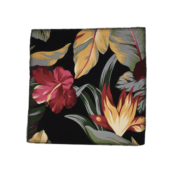 Black Pau Hana Hawaiian Barkcloth Upholstery Fabric