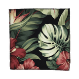 Black Pua Hawaiian Barkcloth Upholstery Fabric