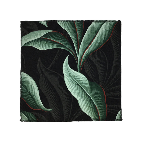Black Retro Leaves Hawaiian Barkcloth Upholstery Fabric Fabric